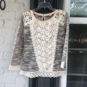 Anthropologie lace accent sweater